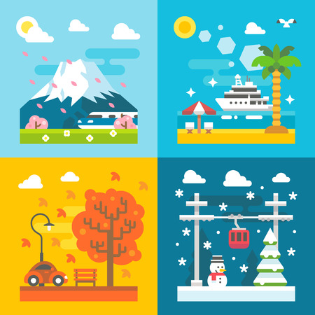 spring summer: Flat design travel seasons set illustration vector Illustration
