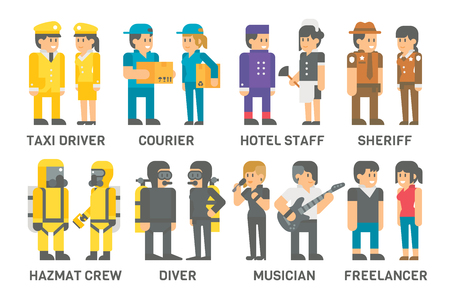 oxygen transport: Flat design people with professions set illustration vector