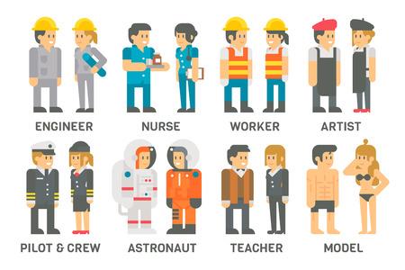 Flaches Design Menschen mit Berufen gesetzt Illustration Vektor Vektorgrafik
