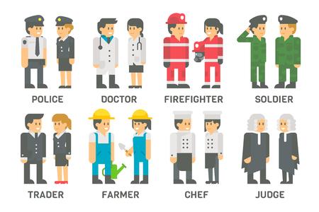 cartoon soldat: Flaches Design Menschen mit Berufen gesetzt Illustration Vektor Illustration