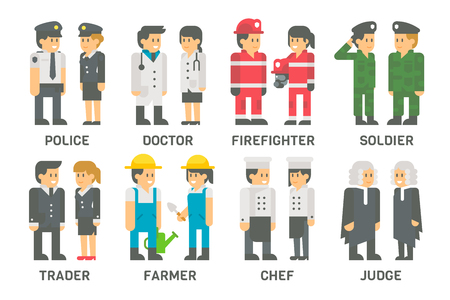 male female: Flat design people with professions set illustration vector