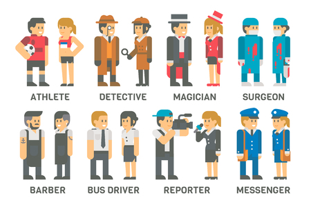 cartoon hairdresser: Flat design people with professions set illustration vector