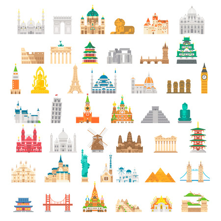 Flat design famous landmark set illustration vector