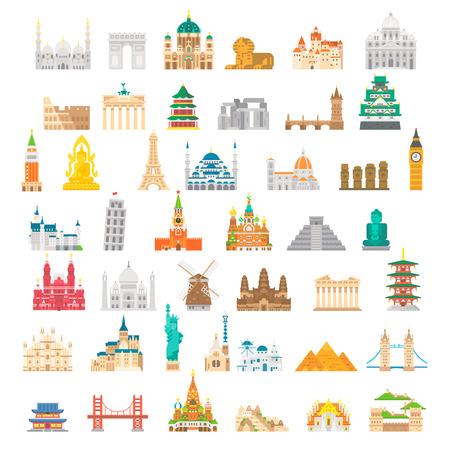 Flat design famous landmark set illustration vector