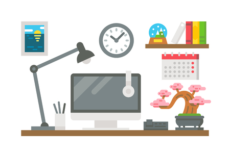 Flat design working desk decor illustration vector Ilustração