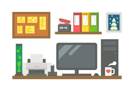 Flat design working desk decor illustration vector Illustration