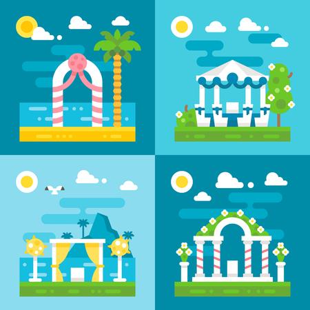 arches: flat design wedding arch decoration illustration vector Illustration