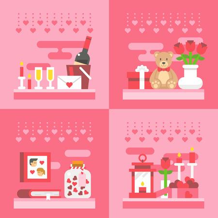 teddy: Flat design valentines day gift illustration vector