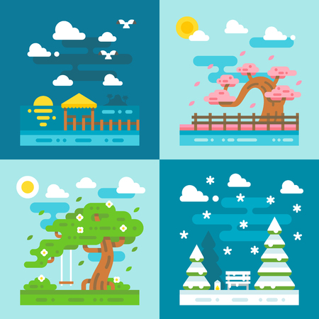 dating: Flat design romantic dating places illustration vector
