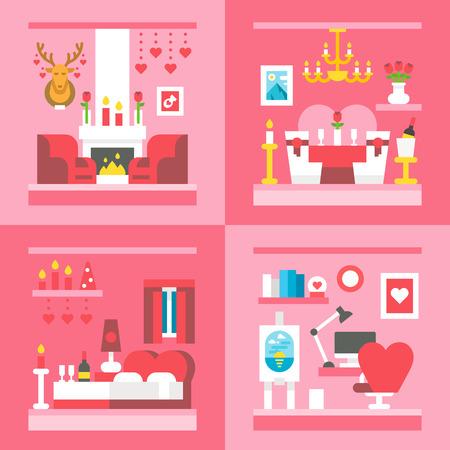 happy couple in bed: Flat design valentines day interior decoration illustration vector Illustration