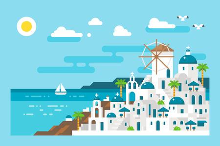 paisaje mediterraneo: Diseño plano Santorini vista del paisaje urbano ilustración vectorial