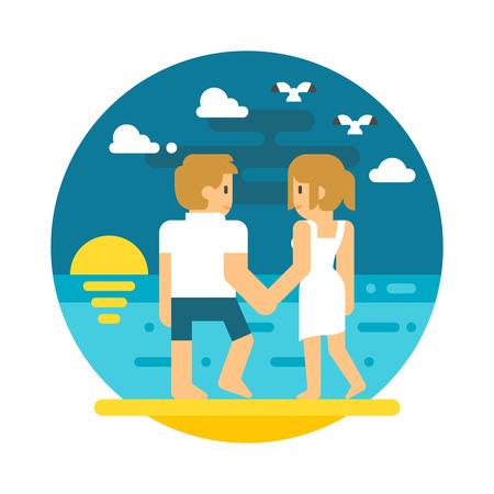 seashore: Flat design couple beach walking illustration vector