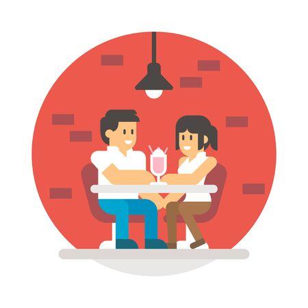 sipping: Flat design couple sharing milkshake illustration vector Illustration