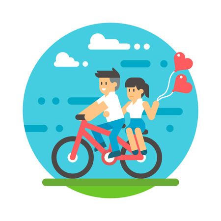 adult couple: Flat design couple riding bicycle illustration vector