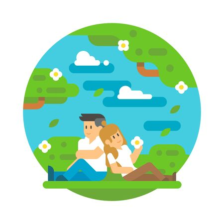 back to back couple: Flat design couple sitting outdoor illustration vector Illustration