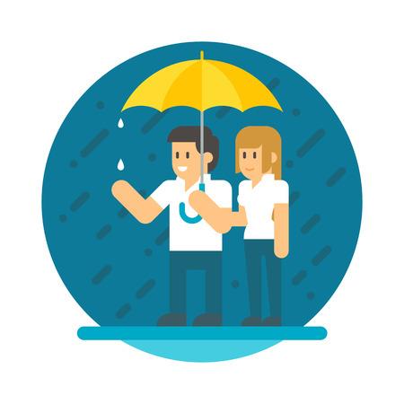 sotto la pioggia: coppie disegno piatto sotto la pioggia illustrazione vettoriale
