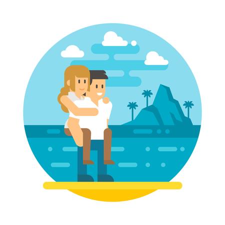 piggyback: Flat design couple piggyback  beach illustration vector