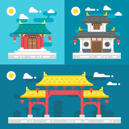 플랫 디자인 오래 된 중국 건물 그림 벡터