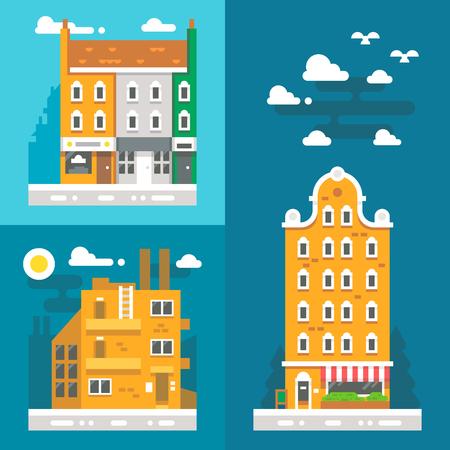 european: Flat design old european buildings illustration vector