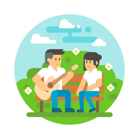 young couple: Flat design couple playing guitar illustration vector Illustration