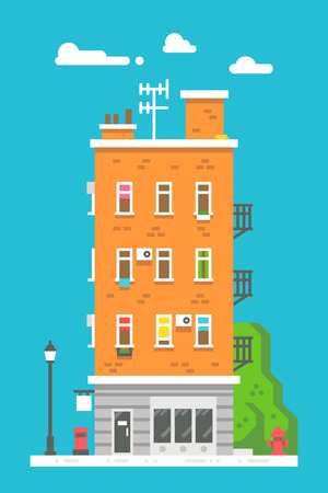 apartment block: Flat design european colorful apartment illustration vector