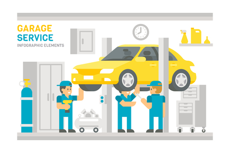 Flat design garage service infographic illustration vector