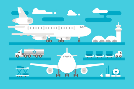 fuel truck: Flat design airport activity set illustration vector