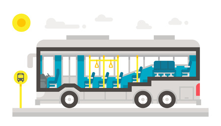 플랫 디자인 버스 내부 인포 그래픽 그림 벡터