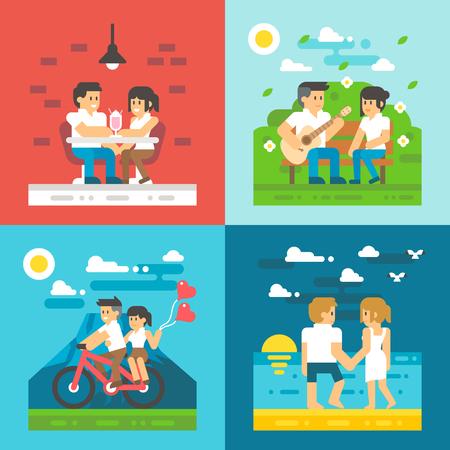 personas sentadas: Diseño plano de citas pareja conjunto ilustración vectorial