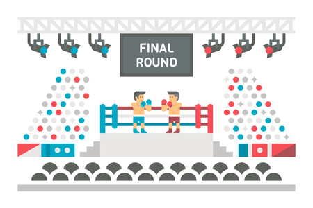 boxing ring: Flat design boxing stage fight illustration vector Illustration