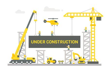 Flat design construction site sign illustration vector