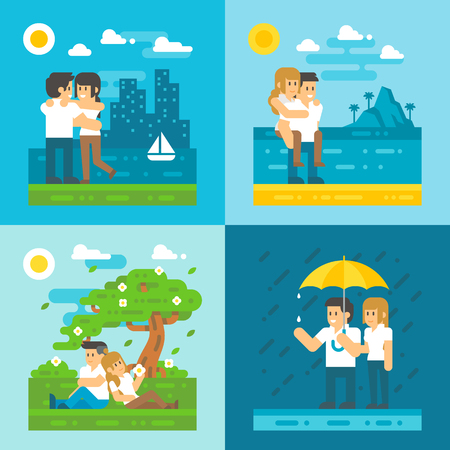 couple embrace: Flat design dating couple set illustration vector