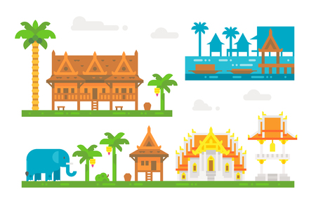 floating market: Flat design beautiful Thai village illustration vector