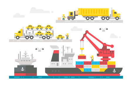 container port: Flat design trading port activation illustration vector Illustration