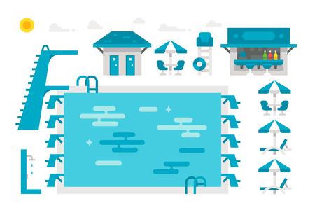 pool bars: Flat design swimming pool set illustration vector