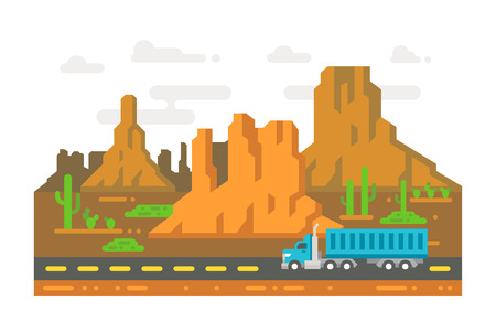 rock canyon: Flat design lonely road Arizona illustration vector