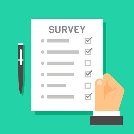hand holding paper: Flat design hand holding survey test paper illustration