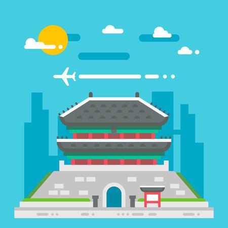 seoul: Flat design Namdaemun gate Korea illustration