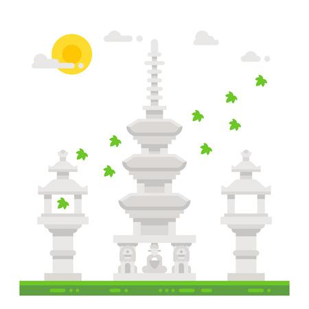 shrine: Flat design Haedong temple shrine illustration Illustration