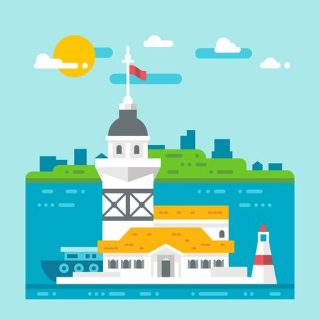 turkey istanbul: Flat design Maidens tower Turkey illustration Illustration