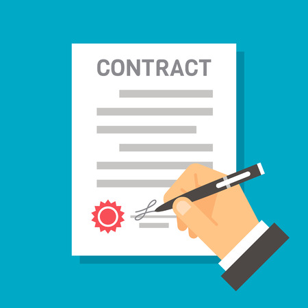 signing papers: Flat design hand signing contract illustration Illustration