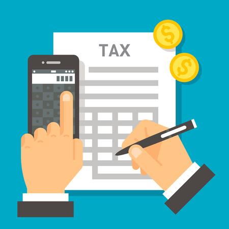 Diseño plano de cálculo de impuestos ilustración