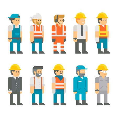 평면 디자인 건설 노동자 세트