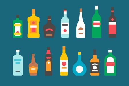 botella de licor: Diseño plano botellas de alcohol colección ilustración vectorial