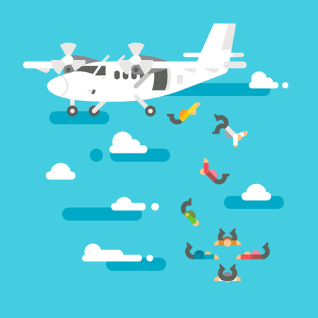 freefall: Flat design people skydiving illustration vector