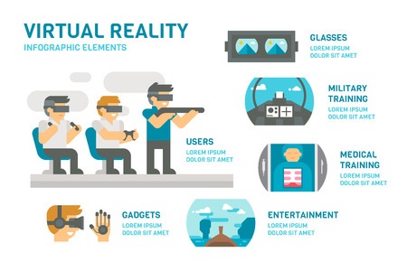 Flat design virtual reality infographic illustration vector Vectores