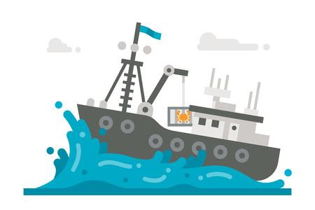 fischerei: Flaches Design Alaska-Krabben-Fischerei Illustration