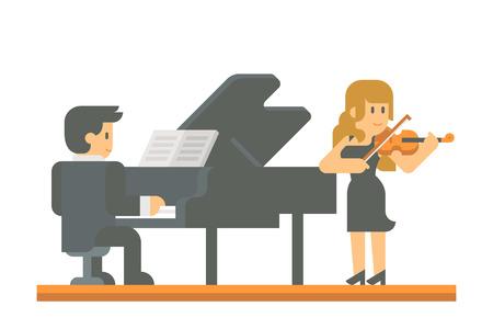 string together: Flat design piano and violin duet illustration