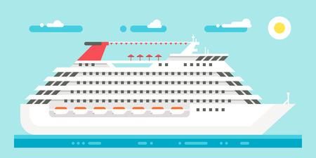 lifeboat: Flat design luxury cruise illustration
