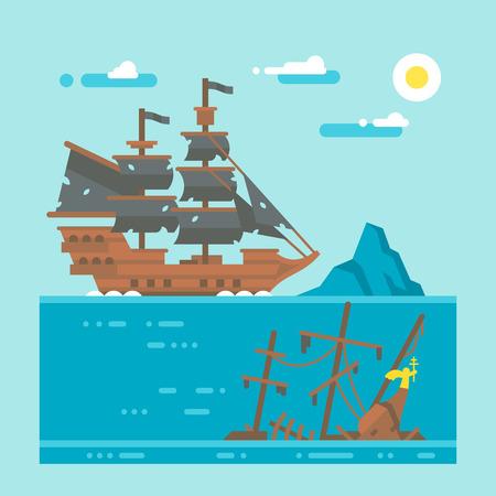 shipwreck: Flat design pirate shipwreck illustration Illustration